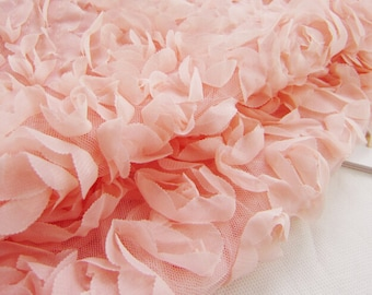 Pink Rose Floral Lace Fabric Chiffon Trim Tulle Fabric Wedding Dress Costume Fabric Curtain Crocheted Gown 51'' Wide 1 Yard S0128
