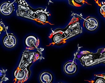 Biker For Life Fabric By The Yard Biker Lingo Words On