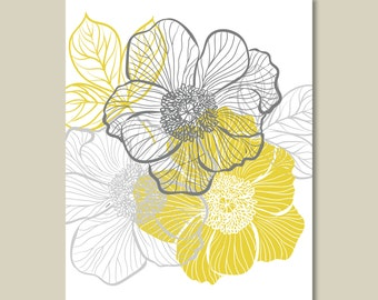 Multi-Floral Single Print - Home. Decor. - Shown in Mustard Yellow and Gray - You Pick the Size (S-225)