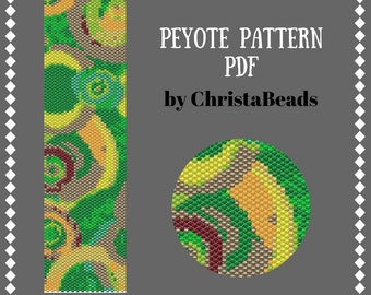 Peyote bracelet pattern Beading tutorials and pattern Beading Pattern Peyote Stitch Bracelet Peyote cuff pattern abstraction #4 ChristaBeads
