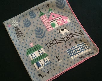 Charming 1950's Betty Anderson Handkerchief
