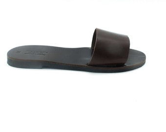 Slip on sandals in dark chocolate brown, casual women slides available in 19 colors
