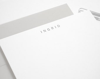 UNIVERS Letterpress Flat Stationery Set - Simple Personalized Note Cards - Custom Printed - Letterkast
