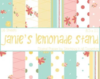 Janie's Lemonade Stand Digital Paper Pack - 16 Digital Sheets