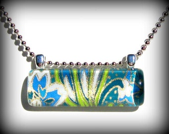 Lime Green and Blue Necklace. Art Pendant. Glass Bar Pendant: Under The Sea