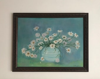 Daisy Painting on Canvas Board. Blue