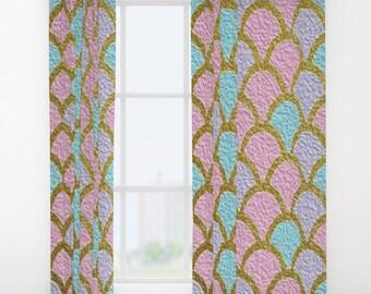 Mermaid Scales Window Curtains Pastel