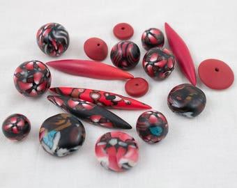 "Assortment of unique handmade polymer beads / Set ""Black-red"""