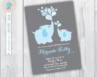 Baby Boy Elephant Baby Shower Invitation / Blue Elephant Baby Shower  Invitation / Baby Boy Elephant