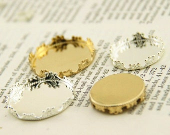 12 pcs of crown edge setting for 20mm 25mm cameo-7535--matte gold matte silver  shinney gold shiny silver