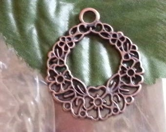 1 pendant of Tibetan style, for Christmas day, mixed shape, nickel, red copper, 30mmx25 mm, hole: