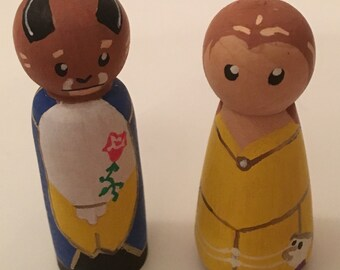 Beauty and the Beast inspired peg dolls