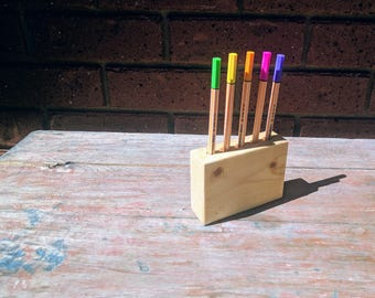 Wooden Pen Holder - Rustic Decor Desk Organiser - Pallet Wood Pencil Holder - Wood Pen Holder