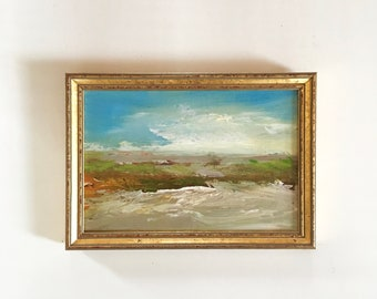 Landscape  Painting- Peaceful Site- Framed- Painting - Original Painting- 6-1/2 x 9  Frame - Fine Art