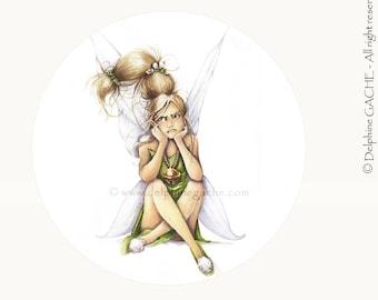 Miroir de poche thème féerique - Clochette - Illustration Delphine GACHE