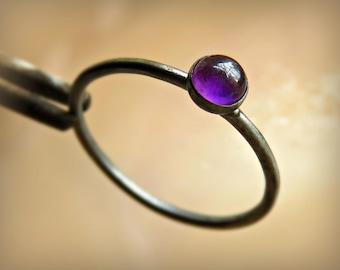 Amethyst Ring - Oxidized Amethyst Ring - Silver Amethyst Ring - Silver Amethyst Stacking Ring
