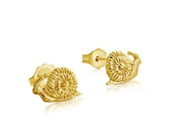 Snail Stud Earrings #14K Gold Plated over 925 Sterling Silver #Azaggi E0718G