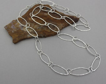 Hand Forged Fine Silver Chain Necklace, Fused Fine Silver Organic Chain, Hammered Chain Necklace, Pure Silver Chain, Handmade Silver Chain