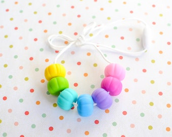 Silicone Teething Necklace - Nursing Necklace - Chew Necklace - Rainbow Teething Necklace - Silicone Necklace - Baby Shower - Baby Gift
