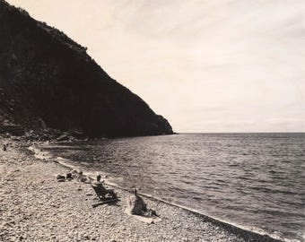 Italian Holiday, 'Al Mare #2' Limited Edition, Image Transfer on Wood Panel by Patrick Lajoie, photo art block, italy photography, beach,b&w