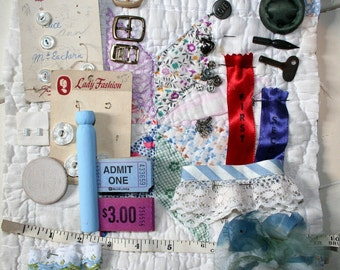 Inspiration Collection No. 1- Vintage Quilt, Textile Embellishments, Paper, Vintage Buttons,Snaps, Buckles, Millinery Flower and more...