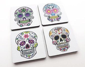 Sugar Skull Coasters Gift day of the dead dia de los muertos calavera skeleton halloween party favor stocking stuffer decor til death