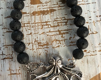 Octopus and lava stone diffuser bracelet/Aromatherapy/Essential oil diffuser bracelet