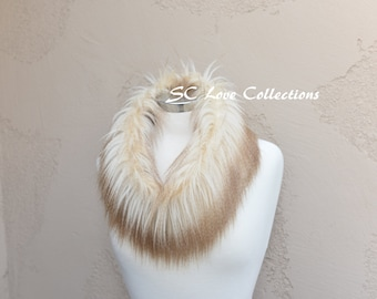 "Long Luxurious Faux Fur Neck Warmer Trend Fashion Furry  Beige Tan Two Tone 5"" x 30"" Handmade"