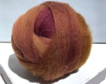 Sienna wool roving, Needle Felting wool, Spinning fiber, yellow brown fox brown, rust red brown roving