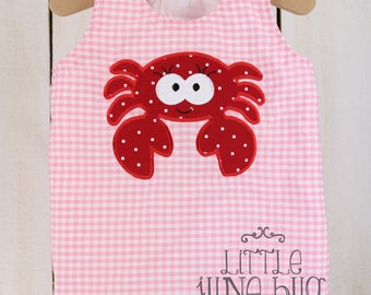 Crab Romper, Pink Summer Romper, Crab Summer/Spring Baby Bubble Romper, Girly Nautical Romper, Baby Girl Beach Outfit
