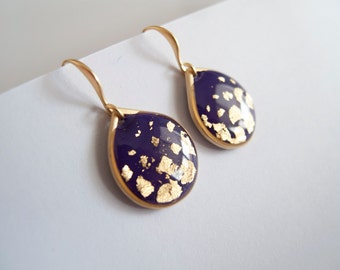 Violet Gold Dangle Drop Earrings - Gift for Her - Bridesmaid Gift