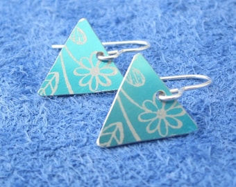 Floral patterned anodised aluminium bunting earrings