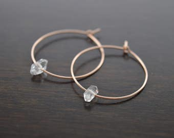 "Herkimer Diamond Rose Gold Hoop Earring, Big Hoop Earrings, Rose Gold Hoops, Any Size up to 2"" Simple Hoop Earrings, Large Hoops, Thin Hoops"