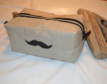 Toilet bag man with mustache