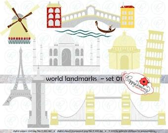 World Landmarks (Set 01) Digital Clip Art Set: Empire State Eiffel Tower London Bridge Taj Mahal Leaning Pisa Windmill Travel Clipart