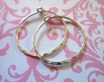 """925 Sterling Silver HAMMERED HOOP Earrings / 1-10 pairs, 1 1/2"""" inch / Artisan interchangable add a dangle ihm.h bh V2"""