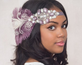 Orchid And Ivory Ostrich Feather Flapper Headband  // Handmade