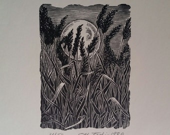 MOONSET -  Original Signed and Numbered Wood Cut on 100% Archival  Rag Paper