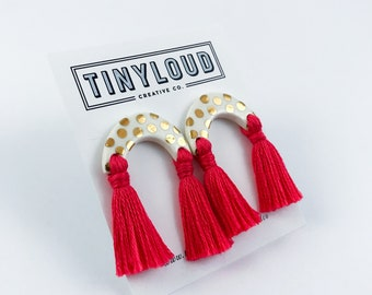 Gold Arch Studs with Tassels