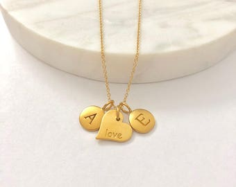 """2 Gold Initial & Heart """"Love"""" Charm Necklace - Valentine's Day - Custom Initial Necklace - Personalized Jewelry"""