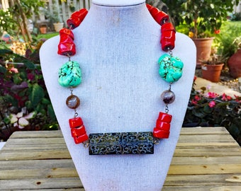 Red Coral and Carved Jade Necklace