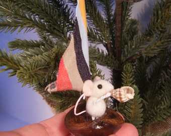 Little Sailor mice in hickory boat ornament- SOLD... more coming