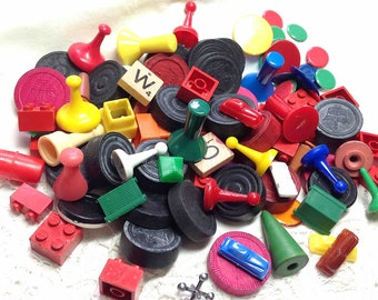 Game Pieces - Shabby Used Lot - Movers, checkers, Monopoly, Plastic, Wood, Altered Art, Jewelry Crafting, Collage - 8.61 Shipping to US