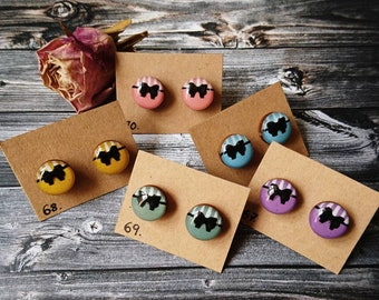 Wooden stud earrings-hypoallergenic Holzohr plug without metal, hand painted (colour: 67-71)-Resin/resin