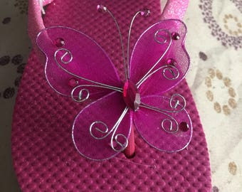 Girls Pink Butterfly Embellished Flop Flop