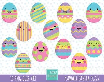 50% SALE EASTER clipart, easter eggs clipart, kawaii easter eggs, commercial use, easter egg clipart, cute graphics, kawaii clip art