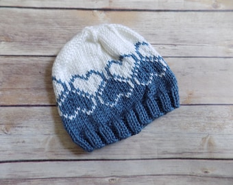 Knit Baby Hat, Heart Beanie, Knit Winter Hat, Baby Girl Beanie, Blue and White Hat