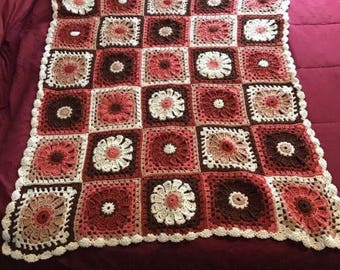 "Crocheted Granny Square lapgan or throw Approx 38"" X 44"""