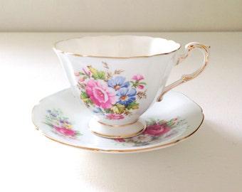 Vintage Paragon Fine Bone China Her Majesty the Queen Pastel / Pale Blue Tea Cup & Saucer Tea Party c. 1950s