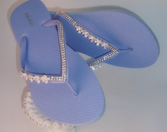 Lavender Flip Flops, Rhinestone Flip Flops, Beach Wedding Sandals, Bridesmaid Sandals, Thong Flip Flops